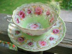 Rose pink & green teacup