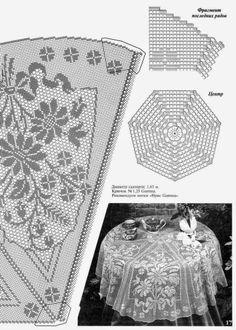Toalha de mesa redonda modelo floral em crochÊ gráfico