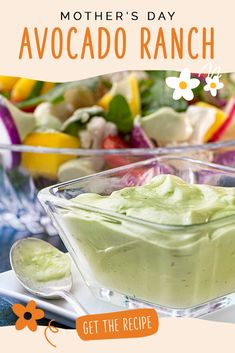 Brunch Recipes, Summer Recipes, Appetizer Recipes, Great Recipes, Appetizers, Favorite Recipes, Avocado Ranch Dressing, Salad Dressing Recipes, Salad Dressings
