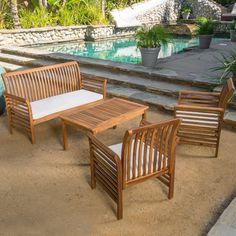 Beachcrest Home Elmhurst 4 Piece Deep Seating Group with Cushion