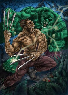 #Hulk #Fan #Art. (Hulk vs. Wolverine) By:Ugurbs. ÅWESOMENESS!!!™ ÅÅÅ+