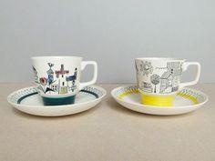 Norwegian Vintage Set of 2 Stavangerflint - Fiskelandsby - Coffee / Tea Cup and Saucer Designed by Inger Waage by PineBook on Etsy