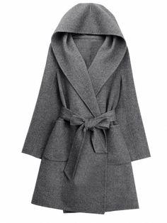 Stylish Solid Color Hooded Tight Waist Women Coats & Jackets / Coats - at Jollychic