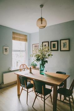 Dining room with cool blue walls and green dining chairs