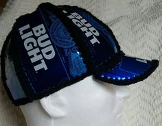 This a fun and unique item! Be the life of any party with this zany beer can hat. This is made from real Bud Light beer cans with black yarn. This hat measures 23 on the inside. Custom orders are welcome! Send us your idea for can, color and size and we can make it happen! NOTE: these