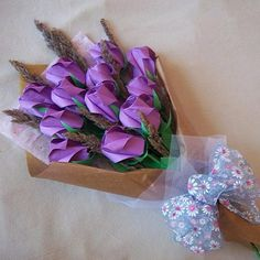 Origami+Roses+Bouquet+with+Dried+Flower+Purple+Paper+Gift+Crafts
