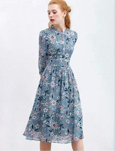 38 Best Ideas For Flowers Print Dress Summer Outfits Fashion Dresses, Pretty Dresses, Knee Dress, Cute Dresses, Casual Dresses, Retro Dress, Printed Summer Dresses, Womens Dresses, Fashion