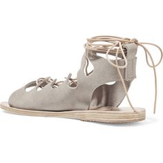 Ancient Greek Sandals Antigone lace-up suede sandals ($225) ❤ liked on Polyvore featuring shoes, sandals, suede lace up sandals, laced sandals, beige suede shoes, wrap sandals and wrap shoes