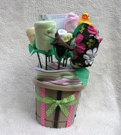 baby shower flower pot! so clever!