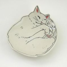 Made-To-Order Sleepy Kitty Dessert Plate by EarlyBirdDesignsShop