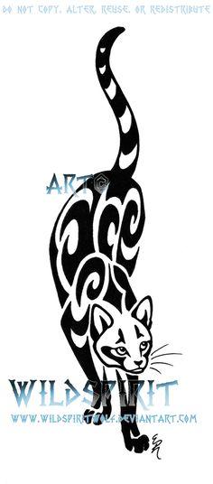 Prowling Cat Tattoo Design