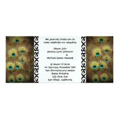 Brown and Gold Peacock Wedding Personalized Invitation