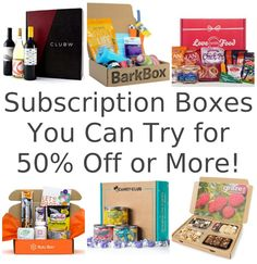 20 subscription boxes you can try for 50% off (or more)! Got to remember to do this.