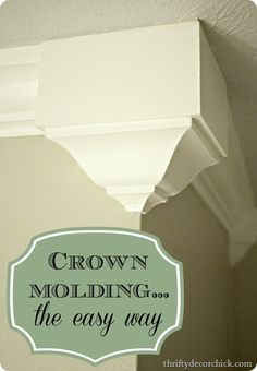 DIY Home Improvement Projects On A Budget - Add Crown Molding - Cool Home Improvement Hacks, Easy and Cheap Do It Yourself Tutorials for Updating and Renovating Your House - Home Decor Tips and Tricks, Remodeling and Decorating Hacks - DIY Projects Do It Yourself Furniture, Do It Yourself Home, Home Improvement Projects, Home Projects, Home Renovation, Home Remodeling, Remodeling Companies, Easy Crown Molding, Molding Ideas