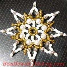Beaded Christmas Snowflake Star Ornament tutorial!
