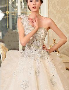 Cheap One Shoulder Crystal Beaded Floor Length Custom Make Long Formal Bridal Robe De Mariee Bling Wedding Dresses Ball Gown Free Measurement