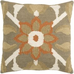 Surya FA-010 Hand Crafted 80% Wool / 20% Cotton Taupe 22' x 22' Floral Decorative Pillow -- Startling review available here  (This is an amazon affiliate link. I may earn commission from it)