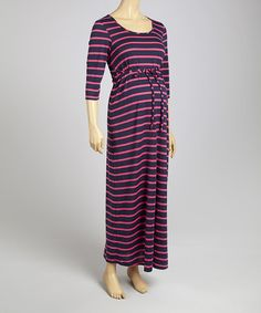 Take a look at this Blue & Raspberry Stripe Tie-Waist Maternity Maxi Dress on zulily today!