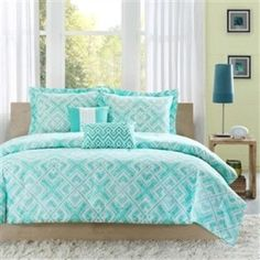 Full / Queen Comforter Set w/ Geometric Light Teal Squares- Free Shipping