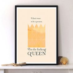 Perfect gift idea for your girlfriend! Digital printing – Digital art print 'Queen' Typography, poster – a unique product by PiliChepper via en.dawanda.com