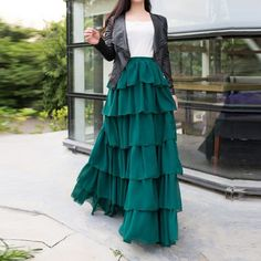 Cheap long maxi skirt, Buy Quality maxi skirt directly from China green skirt Suppliers: Full Length Dark Green Skirt Custom Made Elastic Waistline A Line Floor Length Long Maxi Skirt Tiered Ruffles Skirts Women Long Skirt Formal, Long Maxi Skirts, Mini Skirts, Black Dress Outfits, Skirt Outfits, Long Skirts Images, Dark Green Skirt, Long Skirt Fashion, St Patrick's Day Outfit