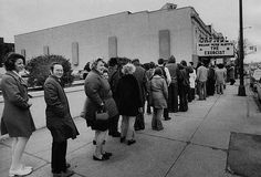People smiling & waiting in line to see The Exorcist. Richmond, VA (1974)