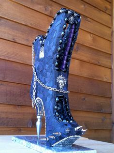 CINDERELLA'S ALTER EGO  Unique Mosaic Boot Sculpture by ShadesofJK, $985.00