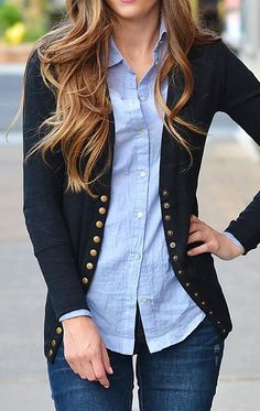 Dear Stitch Fix Stylist - This long cardigan with gold buttons is really nice and preppy/chic for work.  So Perla Black Long Button Cardigan