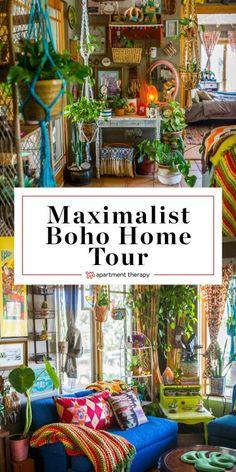 Boho Home Tour: A Maximalist Bohemian Home on a Colorado Farm. Need ideas and inspiration for spaces Bohemian Furniture, Bohemian Interior, Bohemian Decor, Modern Bohemian, Bohemian Homes, Gypsy Decor, Vintage Bohemian, Hippie House Decor, Bohemian Apartment