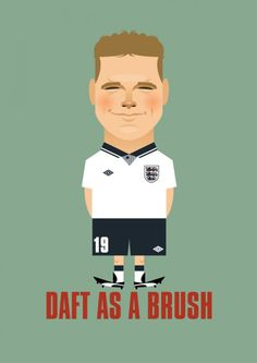 Paul Gascoigne by Stanley Chow England National Football Team, National Football Teams, England Football, Stanley Chow, Association Football, Celebrity Caricatures, World Football, Vintage Football, Sports Pictures