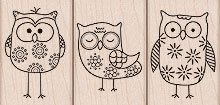 *Hero Arts Rubber Stamps 3 OWL TRIO LP167