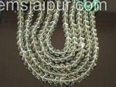 Green Amethyst Twisted Roundelle Gemstone Beads.