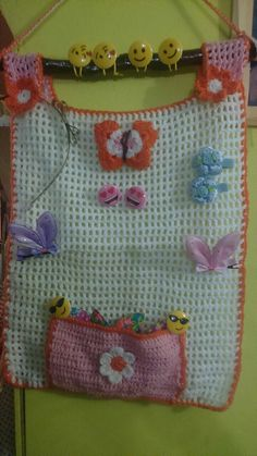 organizador  crochet Crochet Organizer, Pot Holders, Projects To Try, Crochet Patterns, Organization, Knitting, Dress, Crochet Accessories, Washroom