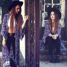 Nasty Gal Hat, Arnhem Clothing Kimono, Lf Crop, American Apparel Pants, Shoe Cult Boots