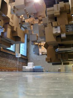 fantastic norway architects created the 'cardboard cloud' installation for an exhibition at the centre for design and architecture (DogA) in oslo, norway. Cardboard Sculpture, Cardboard Art, Norway Design, Victorian Dollhouse, Exhibition Space, Art Google, Installation Art, Clouds, Architecture