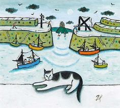 Joan Gillchrest lived in St Ives, here is her cat Titus overlooking Mousehole Harbour