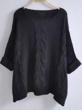 Black Batwing Sleeve Loose Pullovers Sweater $42.88