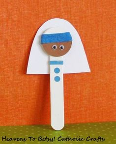 Let us celebrate our newest saint in the Church---St. Teresa of Calcutta. Make a stick pupppet from a craft stick. Her habit is glued on. An almost instant craft. Heavens To Betsy! Catholic Crafts. com