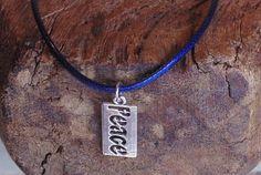 Men's Necklace Peace Pendant Blue Cord Surfer Style Handmade Choker Unisex | eBay