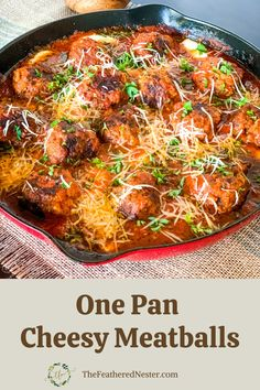 My favorite meals are made in one pot because they're simple to make and clean up after. These meatballs are flavorful and low-carb smothered in sauce and cheese! Easy Meat Recipes, Easy Homemade Recipes, Easy Casserole Recipes, Skillet Recipes, Lunch Recipes, Drink Recipes, Healthy Dinner Recipes, Healthy Food, Easy Meals For Two