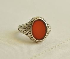 Chunky Antique CARNELIAN Silver 800 Oval Signet RING Size 10.5