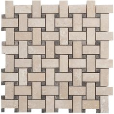 Faber Travertine Basketweave Filled and Honed Random Sized Tile in Light Ivory & Reviews | Wayfair