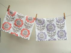 Lavender Swedish Blue or Coral and Taupe Folk Art Floral on