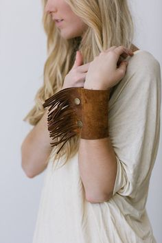 Bohemian Leather Fringe Bracelet Fringe Tassel Wide Leather Cuff Bracelet Boho Free Spirit Bracelet on Etsy, $48.00