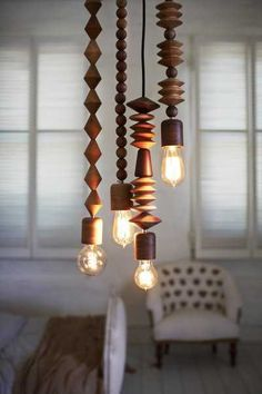 Unique Light Fixtures | Unique lighting fixtures, pendant lights made with wooden beads
