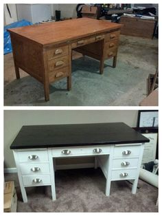diy with style} campaign style desk makeover with a dry erase top