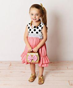 Loving this Coral & Black Polka Dot Dress - Toddler & Girls on #zulily! #zulilyfinds