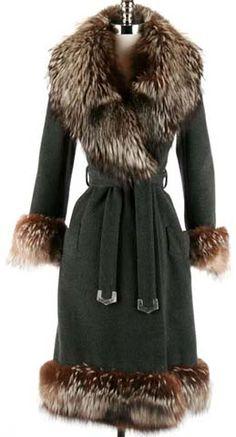 60s gray cashmere raccoon fur wrap coat jacket