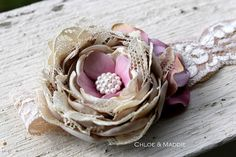 Champagne beige vintage inspired fabric flower stretchy lace headband for newborn, toddler. photography prop (Ready to ship) BEBE. $24.95, via Etsy.