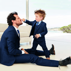 Like father, like son! This super smart navy suit is available in adult AND mini-me size, how cute??